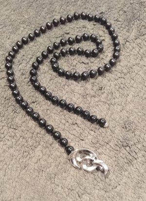 Pierre Lang Collar de perlas negro-color plata