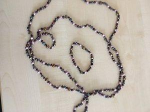 Perlenkette- und armband, rosé