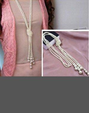 Perlenkette  weiß- lang
