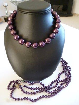 Pilgrim Pearl Necklace dark violet metal