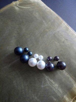 Orecchino di perle antracite-crema