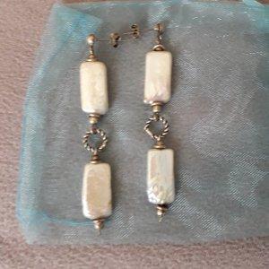 Pendientes de perlas blanco puro-gris claro