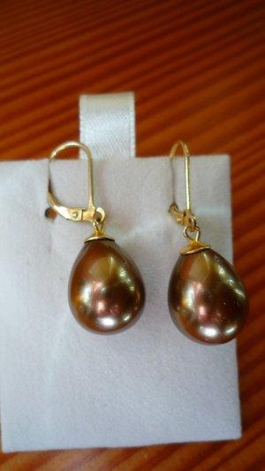 Perlenohrringe Muschelkernperlen Nougat Tropfen 925er Silber vergoldet