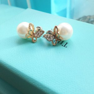 Perlenohrringe Ohrringe Perle Strass gold neu