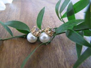 Perlenohrringe Ohrringe Perlen Krone vergoldet NEU