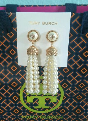 Tory Burch Pearl Earring white-gold-colored