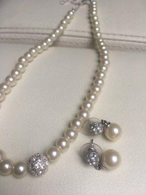 Perlenset mit Strass Hochzeitsschmuck