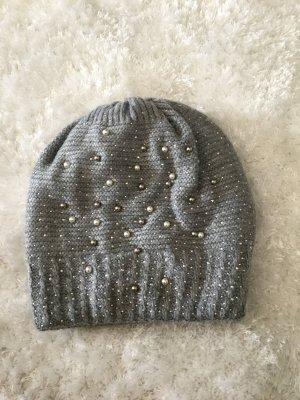 Hallhuber Knitted Hat white-light grey polyacrylic
