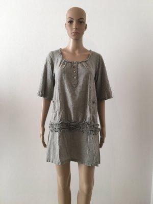 Perlmuttknöpfe Rundhals Bluse Hemd Dreiviertelärmel Mini Kleid Tunika Schlupfkleid Schlupfbluse Oliv Baumwolle romantisch Boho feminin