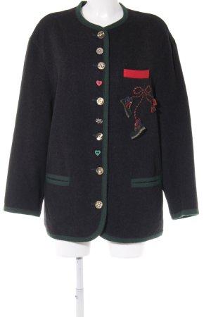 Perry Landhaus Folkloristische jas zwart-bos Groen country stijl