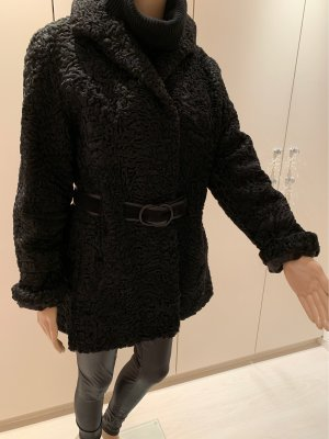 Persianer Jacke gr 38 /40 schwarz mit Gürtel