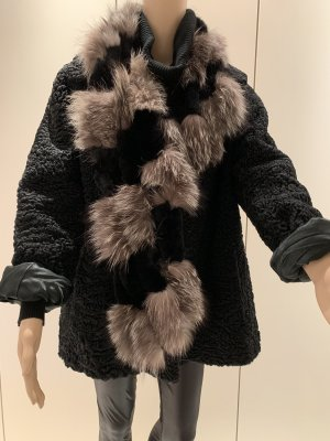 Persianer Jacke schwarz gr 38 /40 mit Faux Fur Fellbesatz