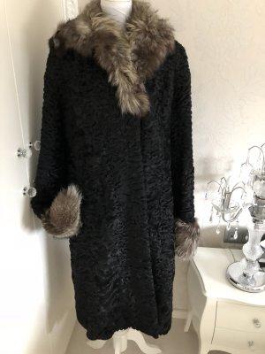 Persianer Mantel mit Echtfellbesatz gr 38 schwarz