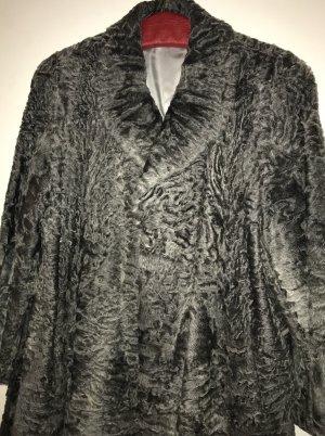 Abrigo de piel gris antracita