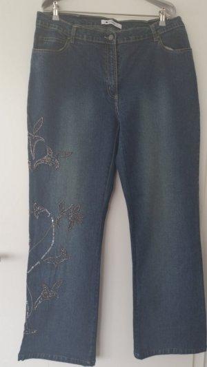 PERSONA Damen Stretch Hose Jeanshose Pailletten Gr. 25(XL) blau