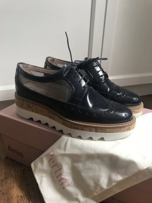 Pertini Wingtip Shoes dark blue-white