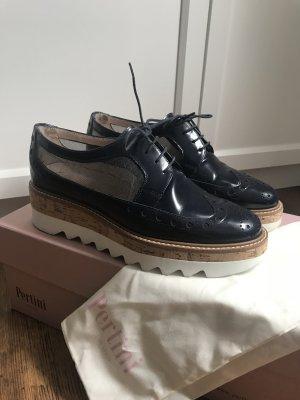 Pertini Wingtip Shoes dark blue-white