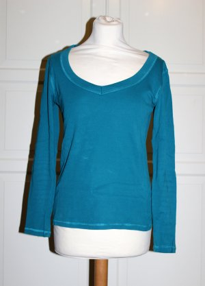 pertrolfarbenes Sweatshirt mit V-Ausschnit