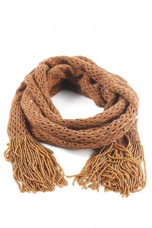Peruvian Connection Crochet Scarf cognac-coloured Boho look