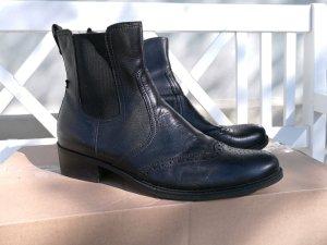 PESARO gefütterte Stiefelette schwarz, Budapester Muster, Gr. 42