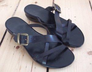 Pesaro Sandalen Gr. 38 Schläppchen Pantoletten schwarz Echtleder
