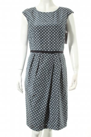 Peserico A-Linien Kleid graublau-weiß Punktemuster Romantik-Look