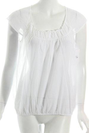 Peserico Blouse à manches courtes blanc style romantique