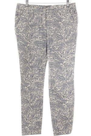 Peserico Pantalón de tubo crema-gris pizarra estampado con diseño de cachemira