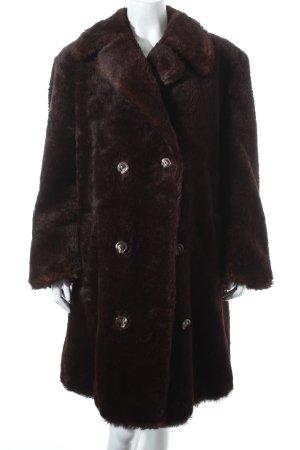 Peter Hahn Veste en fourrure brun foncé style rétro