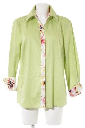 Peter Hahn Hemd-Bluse wiesengrün Blumenmuster extravaganter Stil