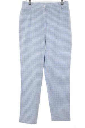 Peter Hahn Pantalone peg-top bianco-azzurro motivo a quadri Vichy stile casual