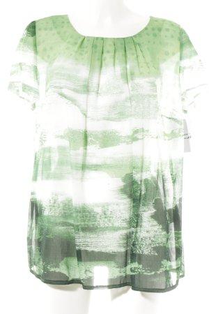Peter Hahn Kurzarm-Bluse grün-weiß abstraktes Muster Casual-Look