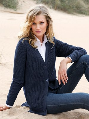 Peter Hahn Coarse Knitted Jacket dark blue