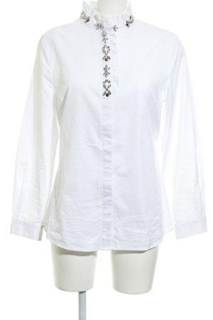 Peter Hahn Langarm-Bluse weiß-silberfarben Elegant