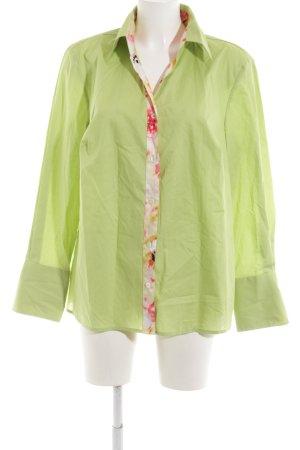 Peter Hahn Langarmhemd grün Blumenmuster Casual-Look