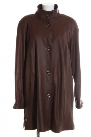 Peter Hahn Leather Coat brown casual look