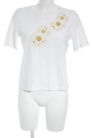 Peter Hahn T-Shirt weiß-dunkelgelb Blumenmuster schlichter Stil