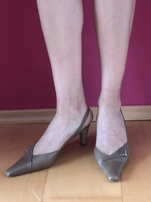Peter Kaiser High-Heeled Sandals taupe-grey brown leather