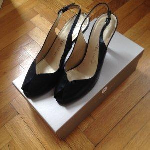 Peter Kaiser peep toe heels in black (leather) / Size 38,5