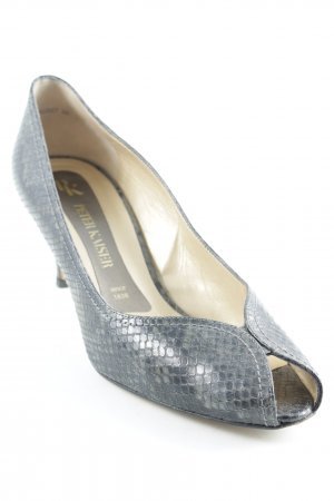 Peter Kaiser Peeptoe Pumps dunkelgrau Animalmuster Animal-Look