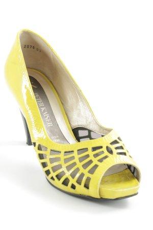Peter Kaiser Peeptoe Pumps gelb-dunkelbraun extravaganter Stil
