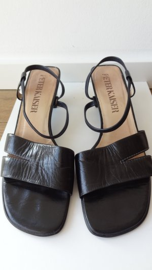 Peter Kaiser High-Heeled Toe-Post Sandals black leather