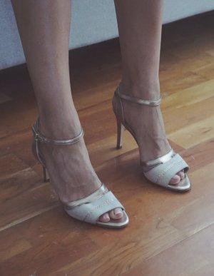 Peter Kaiser Swarovski Steine Leder High Heels Sandaletten gold Hochzeit 38
