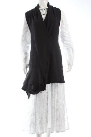 peter o. mahler Hemdblusenkleid weiß-schwarz Nadelstreifen extravaganter Stil