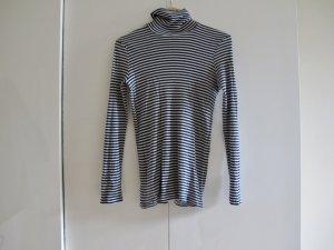 PETIT BATEAU Pullover Top M Rollkragen gestreift dunkelblau schwarz weiß