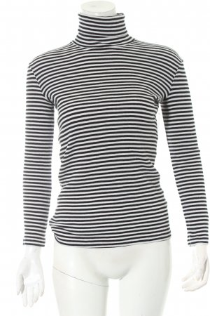 Petit bateau Turtleneck Shirt black-white horizontal stripes navy look