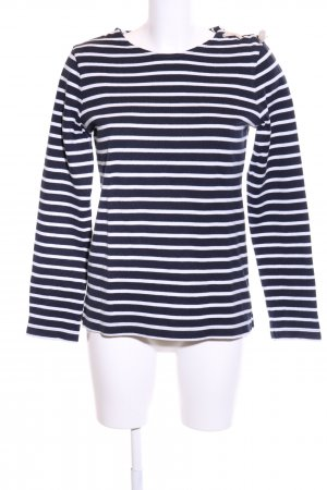Petit bateau Rundhalspullover schwarz-weiß Streifenmuster Casual-Look