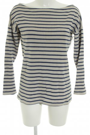 Petit bateau Crewneck Sweater oatmeal-steel blue striped pattern casual look