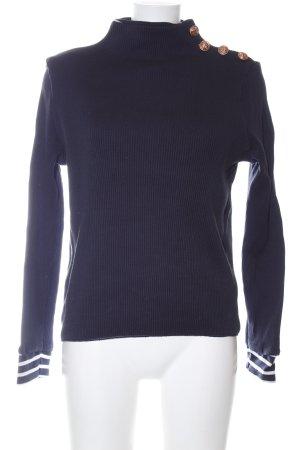 Petit bateau Strickpullover blau-weiß Streifenmuster Casual-Look