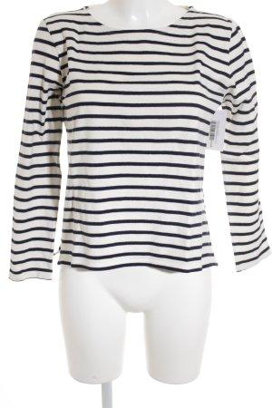 Petit bateau Sweatshirt wollweiß-dunkelblau Streifenmuster Casual-Look
